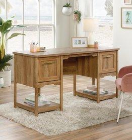 SAUDER 59 in. Rectangular Sindoori Mango 2 Drawer Writing Desk with Adjustable Shelves