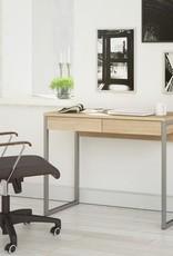Tvilum 40 in. Rectangular Oak 2 Drawer Writing Desk with Built-In Storage