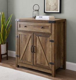 Welwick Designs 30 in. Reclaimed Barnwood Farmhouse Barn Door Accent Cabinet
