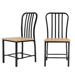 StyleWell Donnelly Black Metal Dining Chair with Natural Finish Wooden Seat (Set of 2)