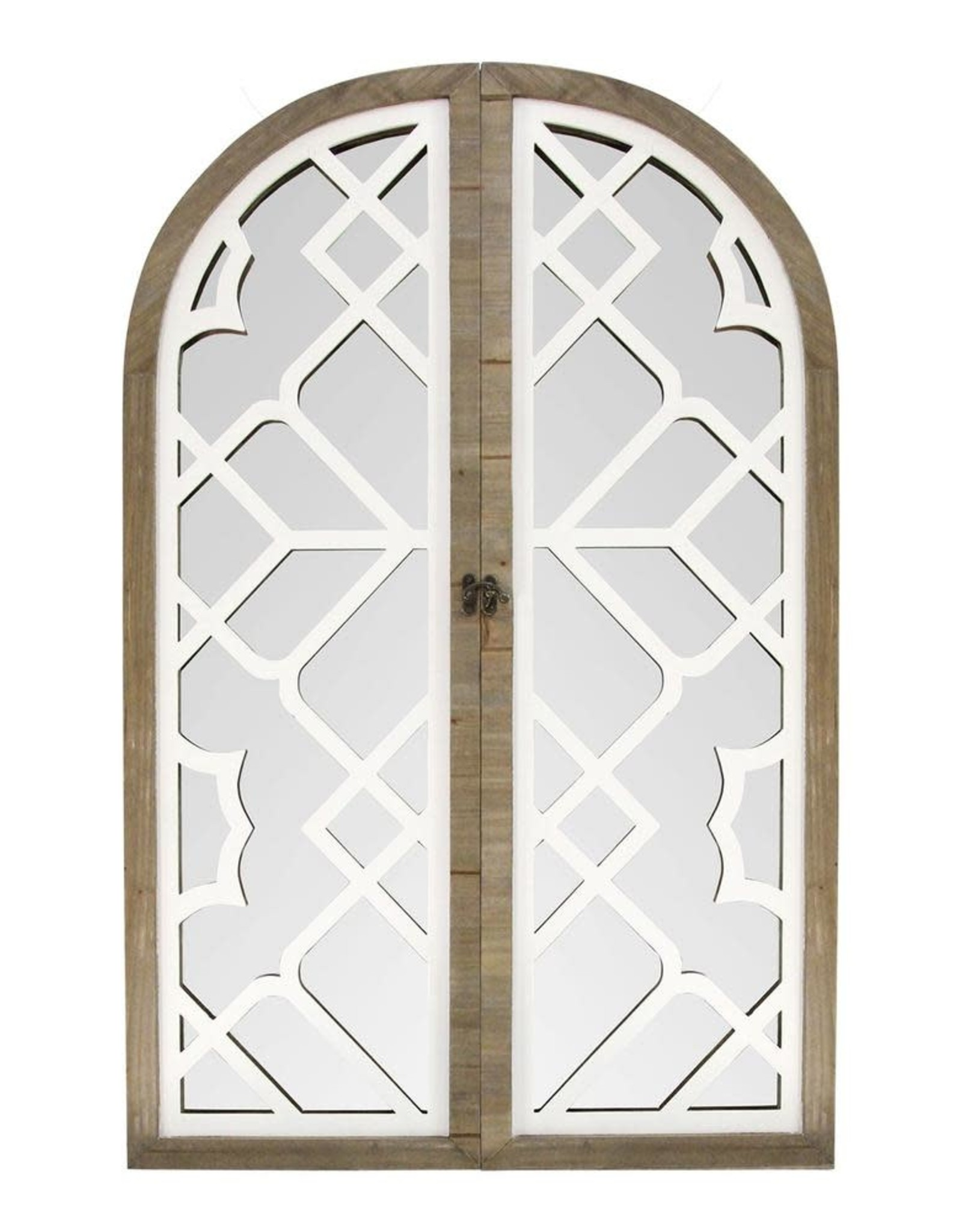 Stratton Home Decor Large Arch White Brown Casual Mirror (42 in. H x 27 in. W)