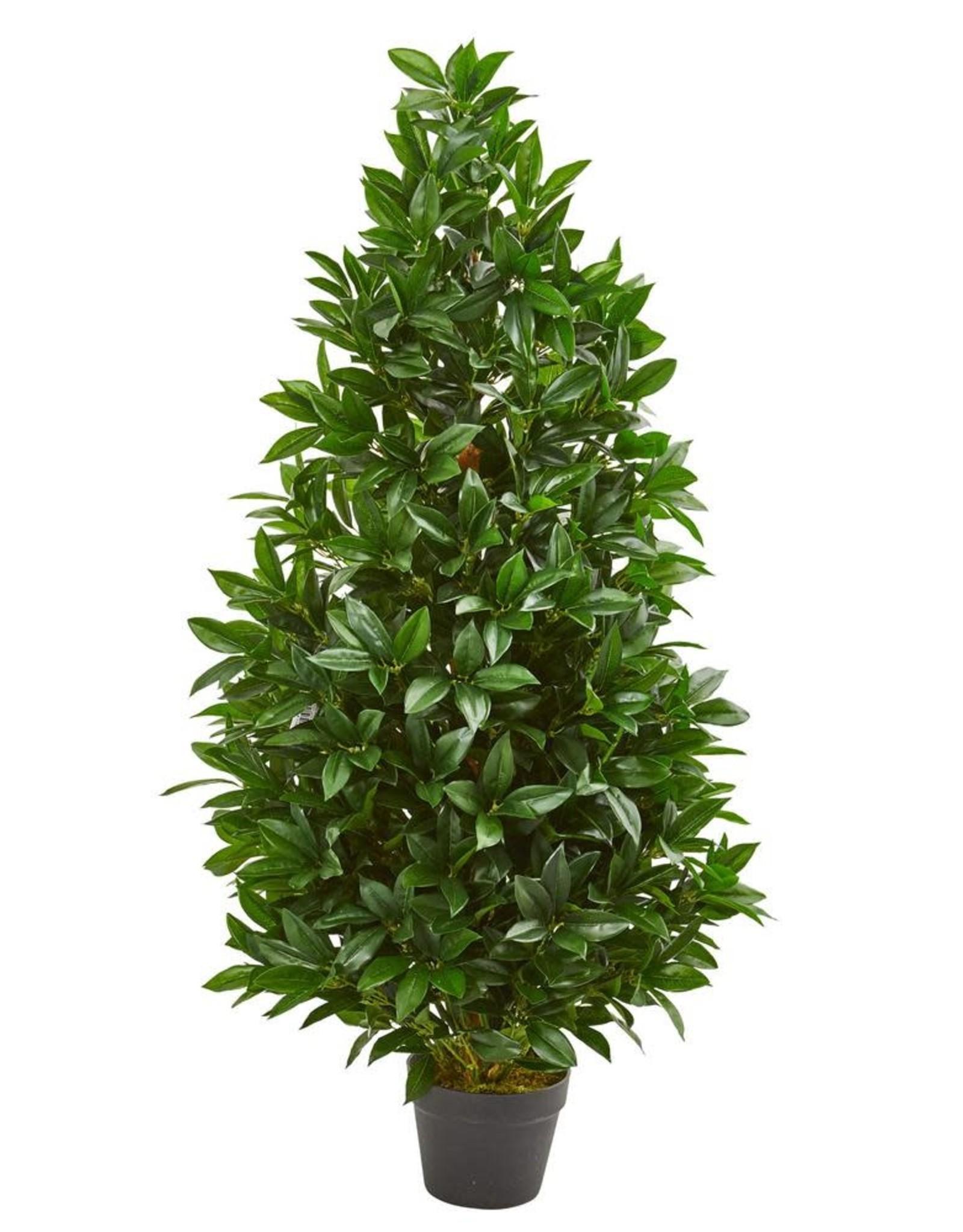 4 Ft Indoor Outdoor Bay Leaf Artificial Topiary Tree Low Tide Liquidation