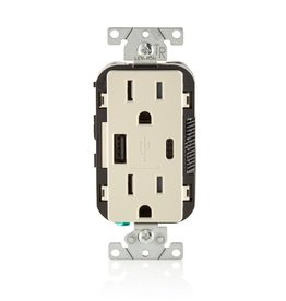 Leviton 15 Amp Decora Type A and C USB Charger Tamper-Resistant Outlet, Light Almond