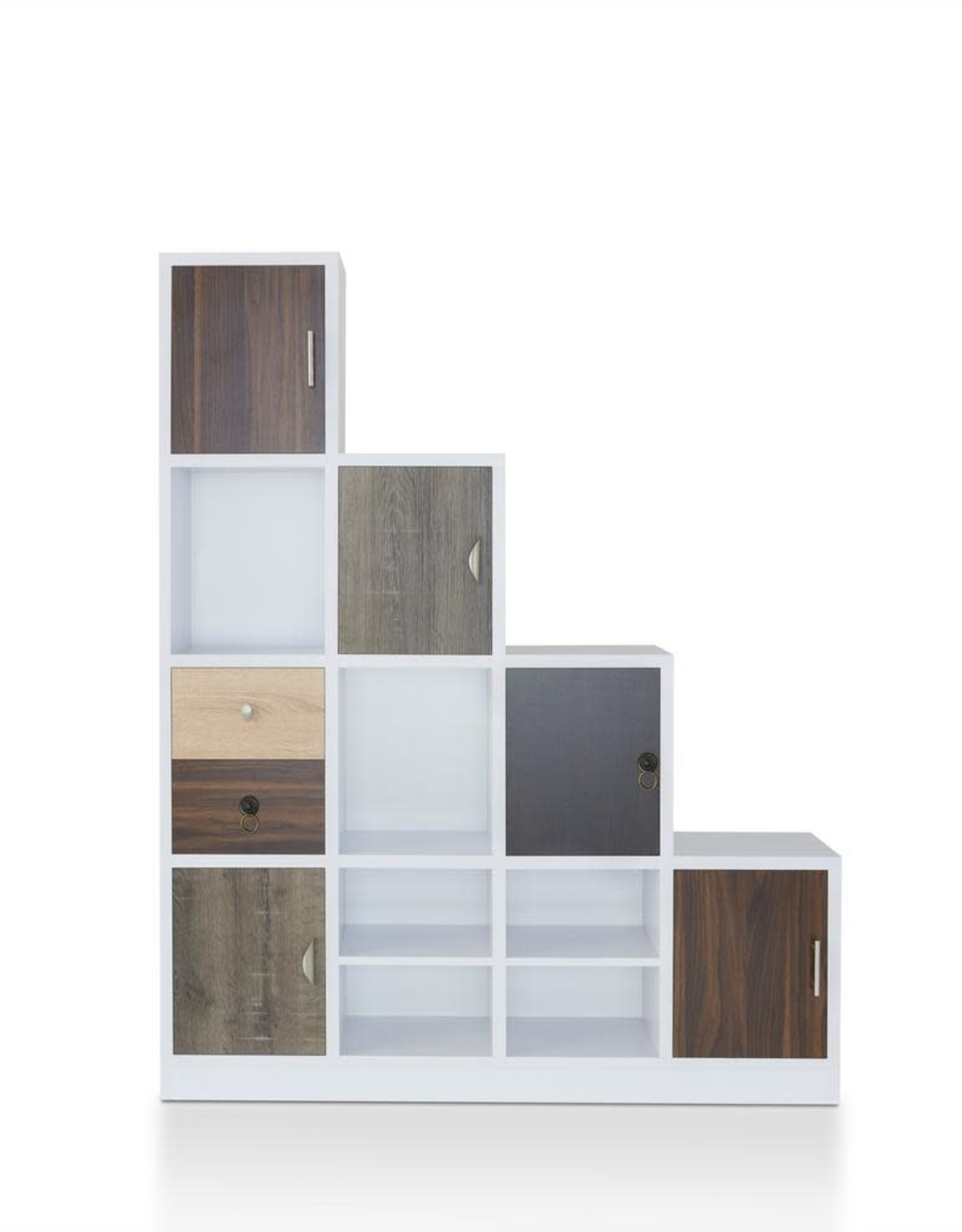 Furniture of America Calenan 61.5 in. White Faux Wood 11-shelf Cube Bookcase with Doors