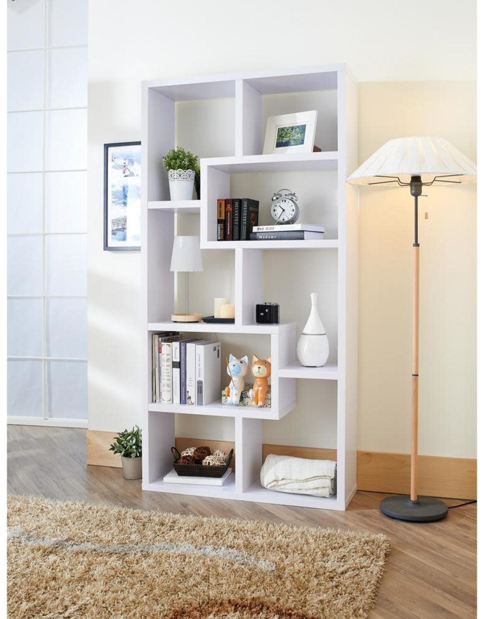 Furniture of America Dore 71 in. White Wood 8-shelf Standard Bookcase with Open Back
