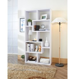 Furniture of America Dore 71 in. White Wood 8-shelf Standard Bookcase with Open Back