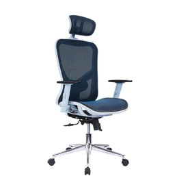 Techi Mobili The TechniMobili Blue High Back Executive Mesh Office Chair with ArmsHeadrest and Lumbar Support