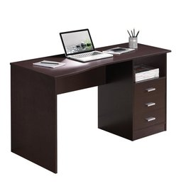 Techni Mobili 52 in. Rectangular Wenge 3 Drawer Computer Desk with Built-In Storage