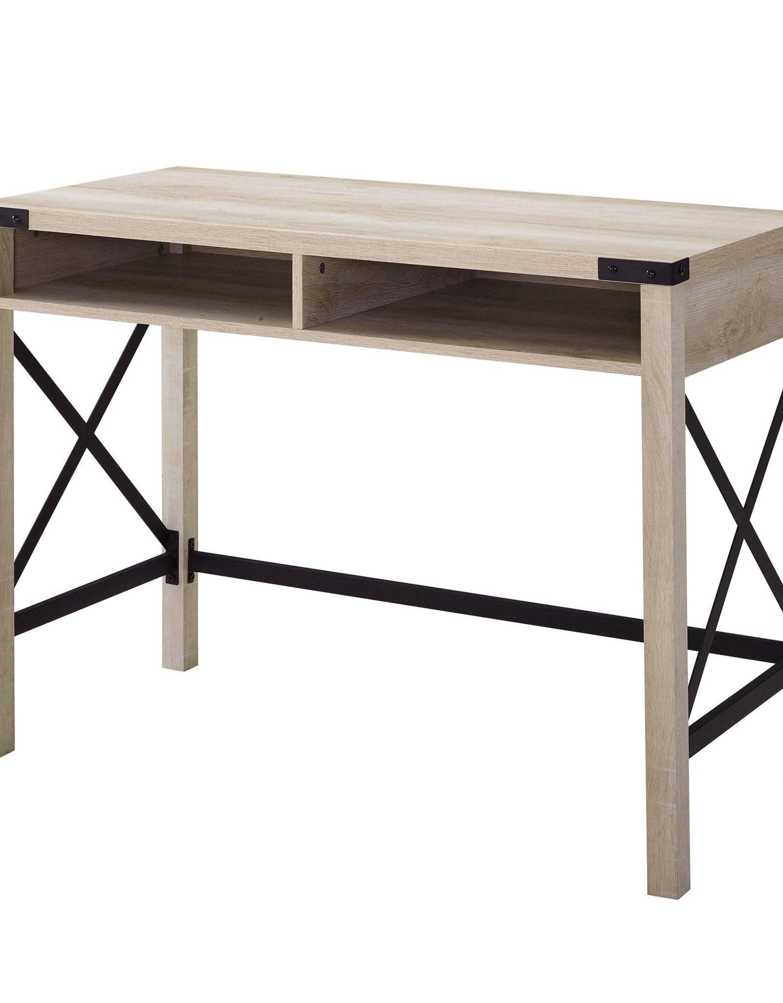 Walker Edison Furniture Company 42 in. Rectangular White Oak Writing Desks with Built-In Storage