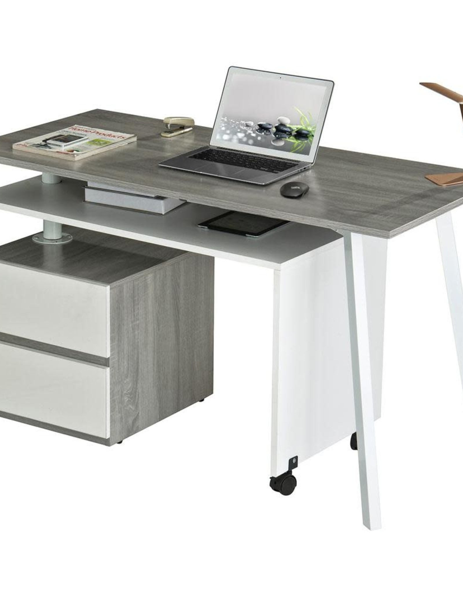 Techni Mobili 58 in. L-Shaped Gray 2 Drawer Computer Desk with Wheels