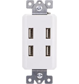GE In-Wall 4-Port USB Charger In-Wall Duplex Outlet Receptacle, White