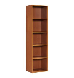 HODEDAH 59.06 in. Cherry Wood 5-shelf Standard Bookcase with Storage