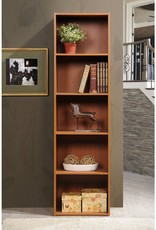 HODEDAH 59.06 in. Cherry Wood 5-shelf Standard Bookcase with Storage