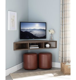Furniture of America Emmeline 47 in. Walnut and Oak Particle Board Corner TV Stand Fits TVs Up  to 46