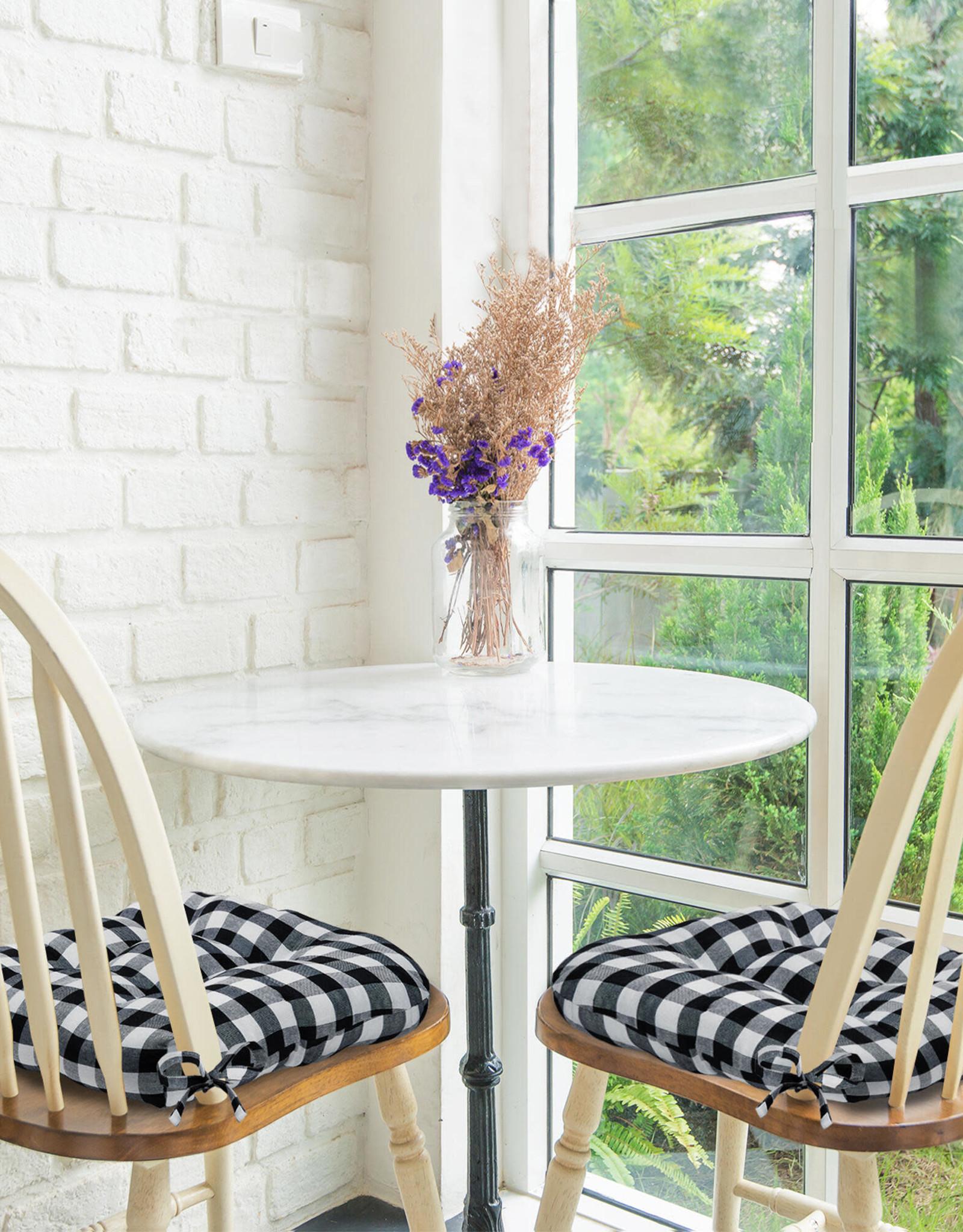 ACHIM Buffalo Check Black/White Checkered Tufted Seat Cushion Chair Pad (Set of 2)