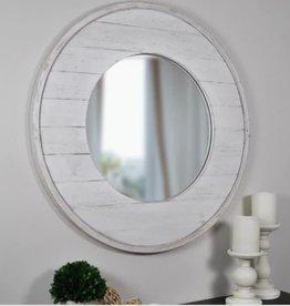 FirsTime Medium Round Aged White Modern Mirror (27 in. H x 27 in. W)