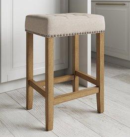 Nathan James Hylie 24 in. Natural Flax Nailhead Saddle Cushion Light Brown Wood Pub-Height Counter Bar Stool
