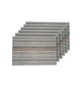Dainty Home Multistripes Multi-Color Woven Textilene Reversible Rectangle Placemats (Set of 6)