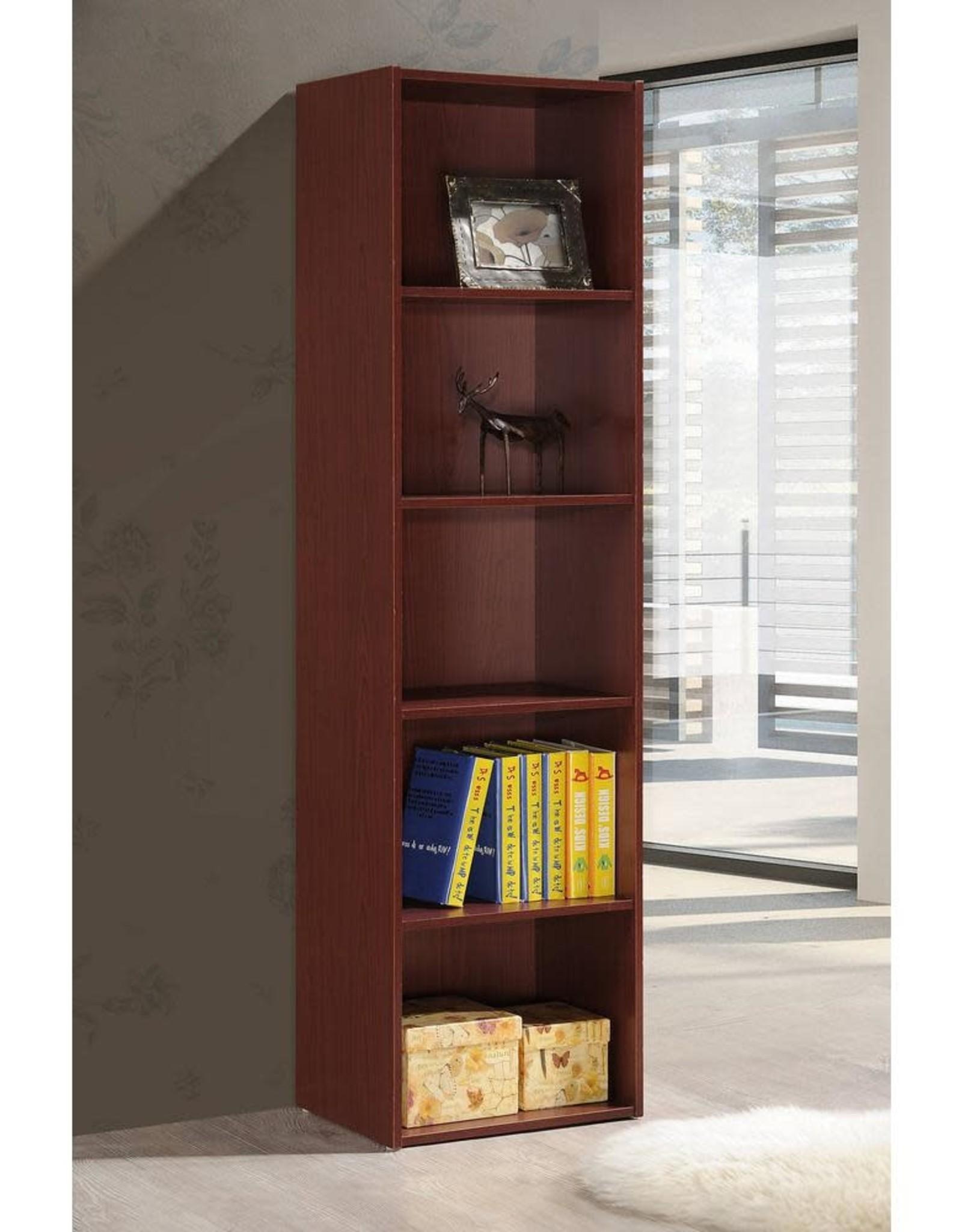 HODEDAH 5-Shelf, 59 in. H Mahogany Bookcase
