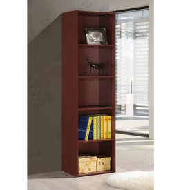 HODEDAH 5-Shelf, 59 in. H Mahogany Bookcase