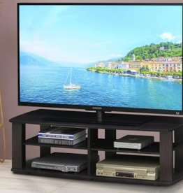 furinno THE 43 in. Dark Walnut Particle Board TV Stand Fits TVs Up to 42 in. with Open Storage