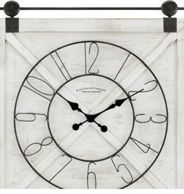 FirsTime 29 in. x 27 in. Farmstead Barn Door Clock