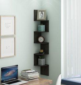 Furrino 48.8 in. Espresso Wood 5-shelf Corner Bookcase with Storage
