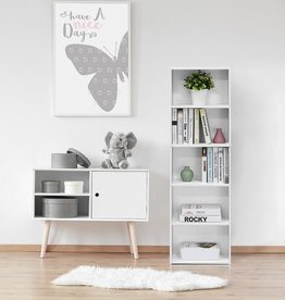 furinno Tropika 52 in. White Faux Wood 5-shelf Standard Bookcase with Storage