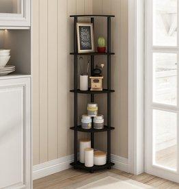 furinno 57.7 in. Black/Espresso Plastic 5-shelf Corner Bookcase with Open Storage