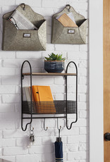 StyleWell 20 in. H x 15 in. W x 6 in. D StyleWell Black Metal Wall Organizer with Basket and 3 Hooks