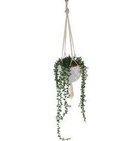 Flora Bunda 32 in. Artificial String of Pearls in Macrame Hanging Ceramic Planter