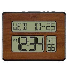 La Crosse Technology Atomic Full Calendar Digital Clock with Extra Large Digits in Walnut