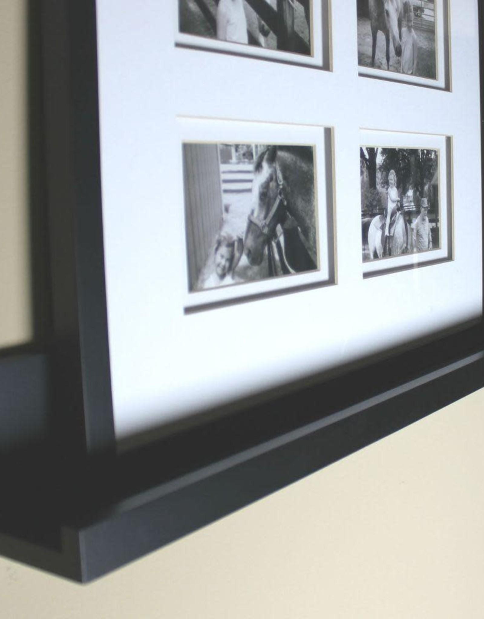 inPlace 23.6 in. W x 3.5 in. D x 4.5 in. H Black MDF Picture Ledge Wall Shelf
