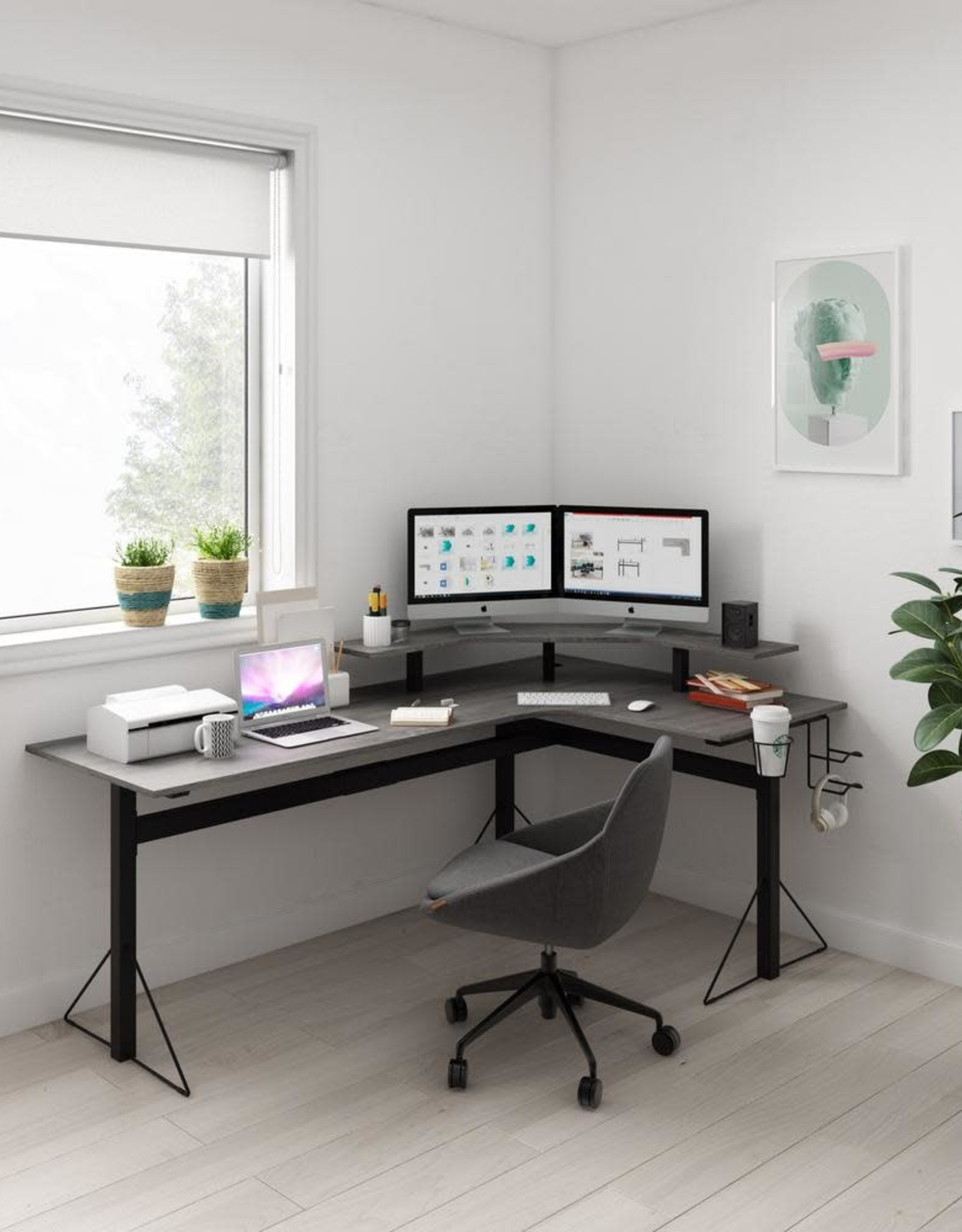 Jamesdar 78 in. L-Shaped Gray/Black Computer Desk with Shelf