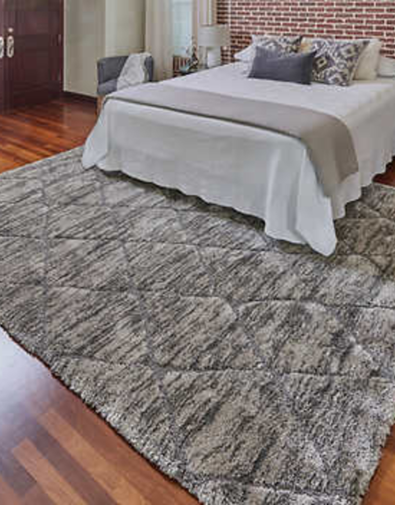 GA GERTMENIAN AND SONS 9'5X13 Cosima Shag Rug Collection, Trinadad Diamond Gray