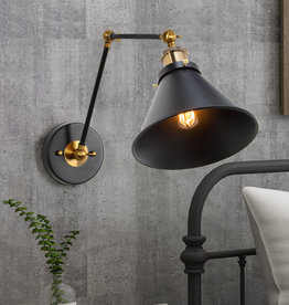 LNC Adjustable 1-Light Modern Black and Gold Plug-In or Hardwire Industrial Swing Arm Wall Sconce with Bell Lampshade