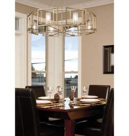 Golden Lighting Marco 8-Light White Gold Chandelier with Clear Glass Shade