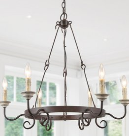 LNC Sombre 6-Light Farmhouse Antique Bronze Distressed Oak Candlestick Round Island Chandelier with Rusted Iron Wagon Wheel