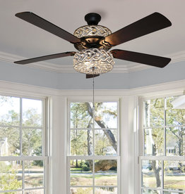 River of Goods Gracie Grand 52 in. Silver with Clear Crystal LED Ceiling Fan With Light