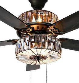 River of Goods Duchess 52 in. Clear Crystal LED Ceiling Fan With Light