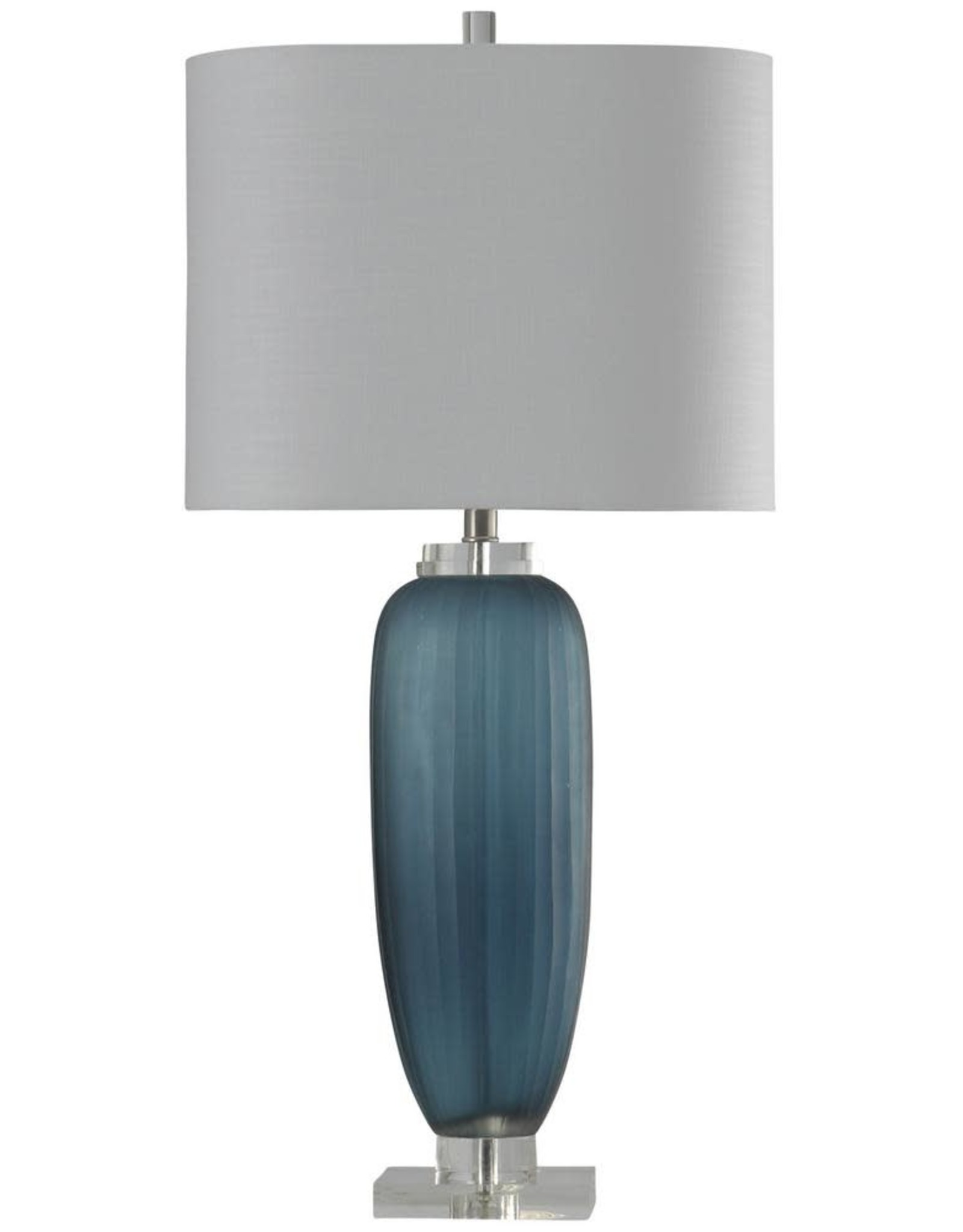STYLECRAFT HOME CLLCTIONS 34.5 in. Nicosia Blue Table Lamp with White Hardback Fabric Shade