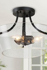 LNC Choni 13 in. 3-Light Black Heirloom Bronze Semi Flush Mount Ceiling Light with Clear Seeded Glass Shade
