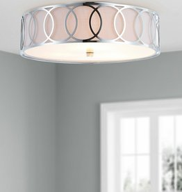 JONATHAN Y Aubrey 3-Light Chrome 15.5 in. Metal Flush Mount