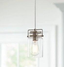Home Decorators Collection 1-Light Mason Jar Brushed Steel Pendant