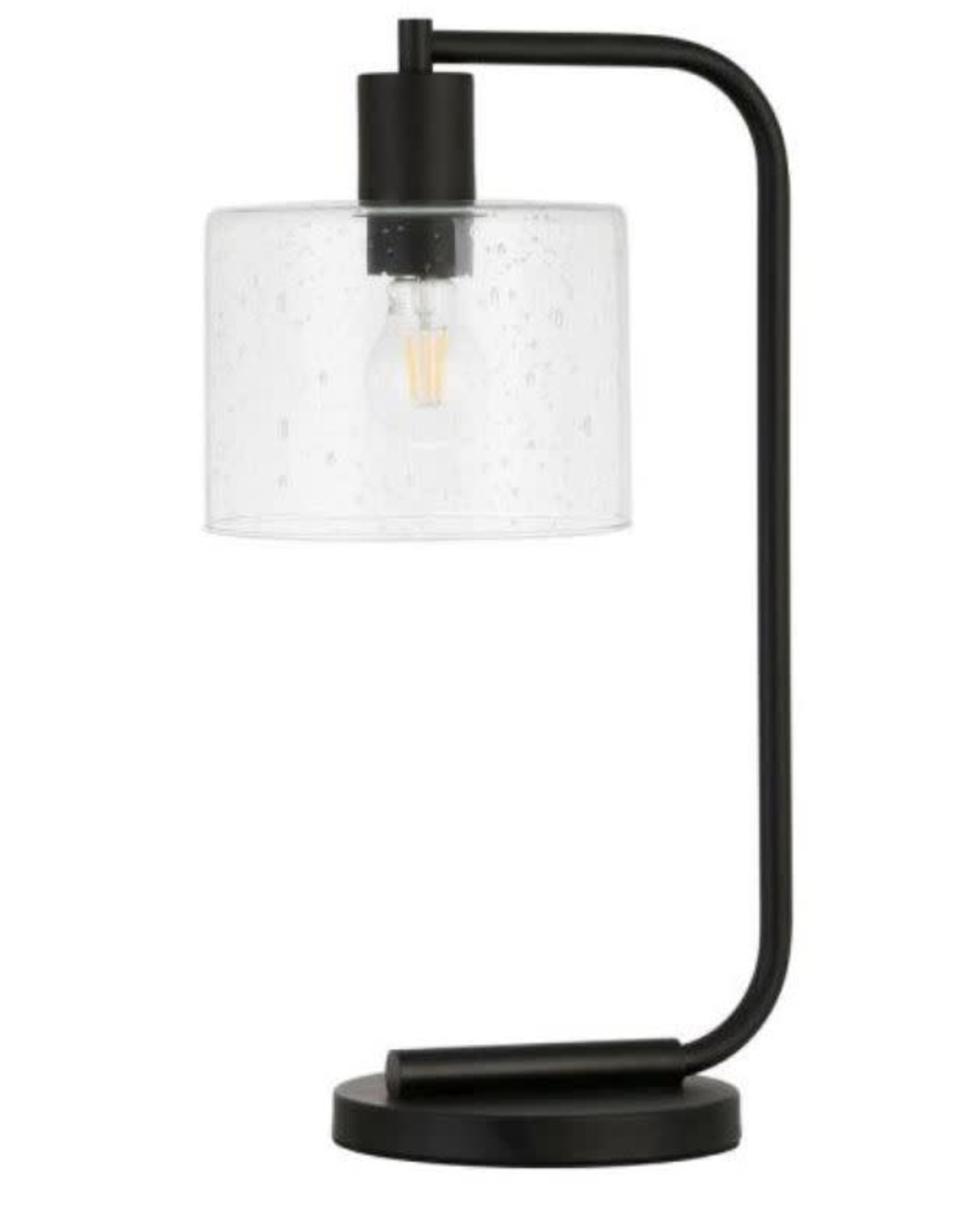 Myer & Cross Cadmus 20-1/2 in. Blackened Bronze Table Lamp with Seeded Glass Shade