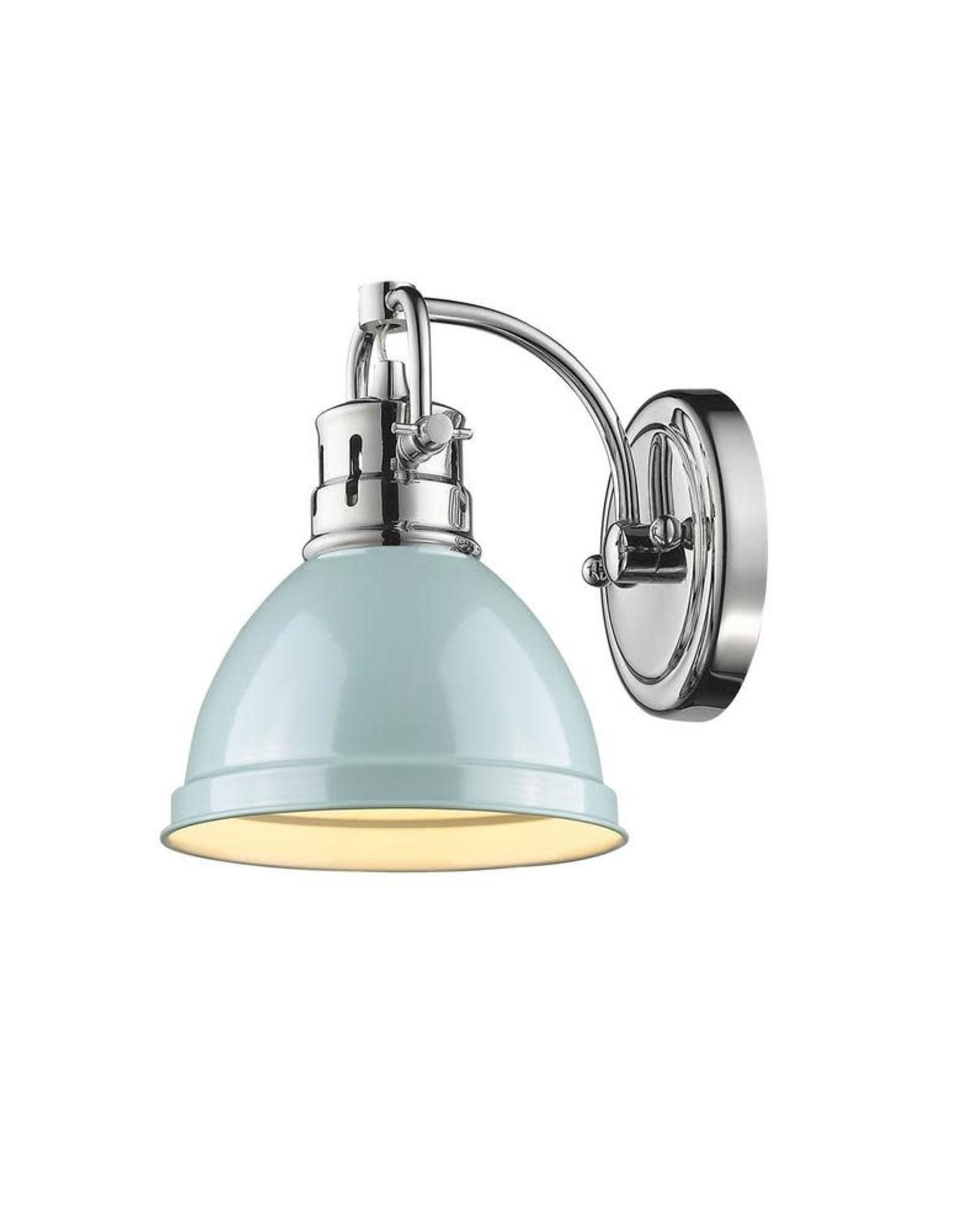 Golden Lighting Duncan Chrome 1-Light Bath Light with Seafoam Shade