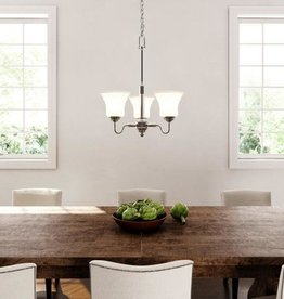 Hampton Bay Creekford 3-Light Brushed Nickel Chandelier with Frosted Glass Shades