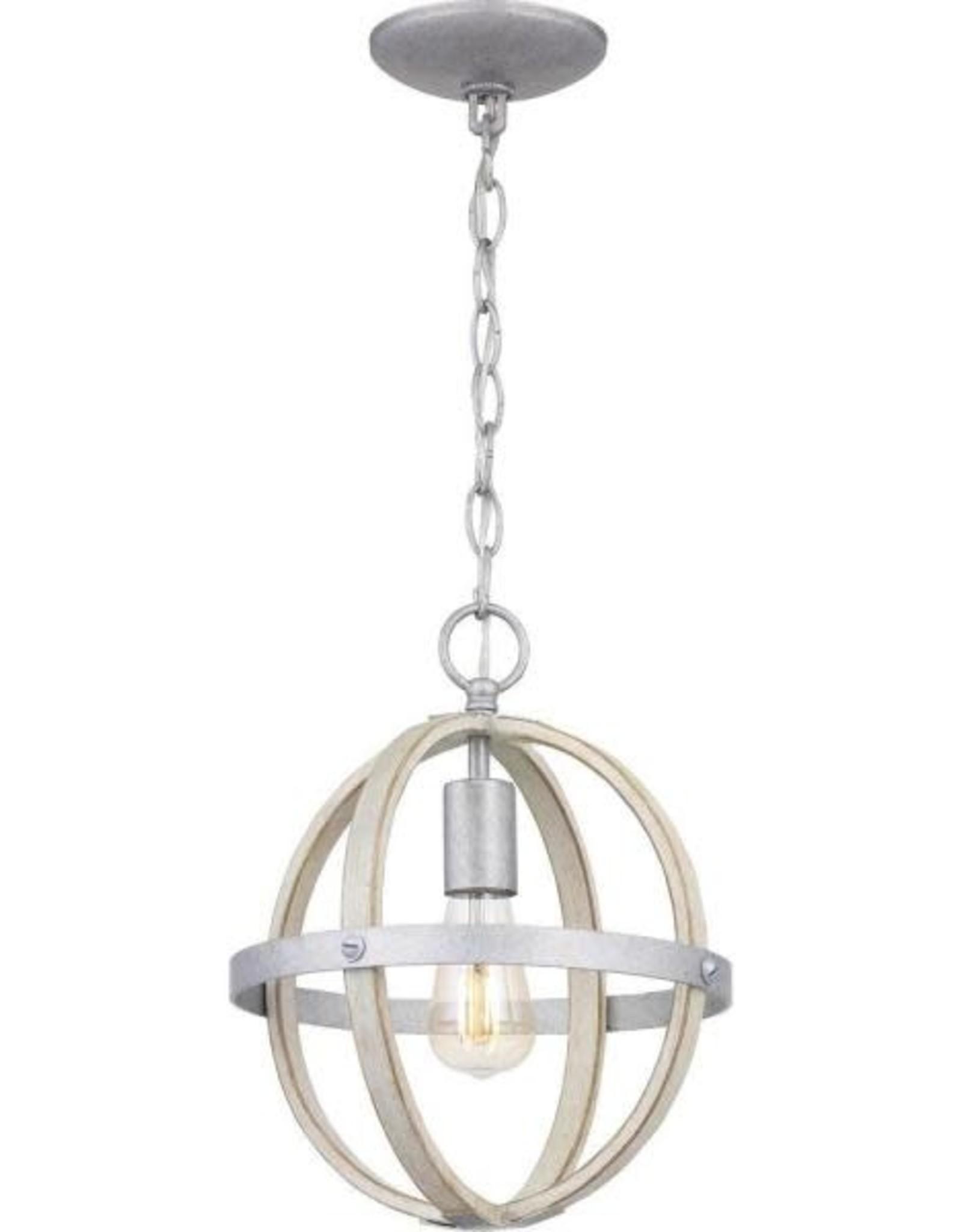 Progress Lighting Keowee 1-Light Galvanized Mini-Pendant with Antique White Wood Accents