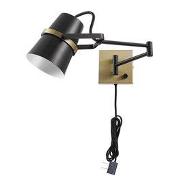 Globe Electric McKibbin 1-Light Matte Black Plug-In or Hardwire Swing Arm Wall Sconce