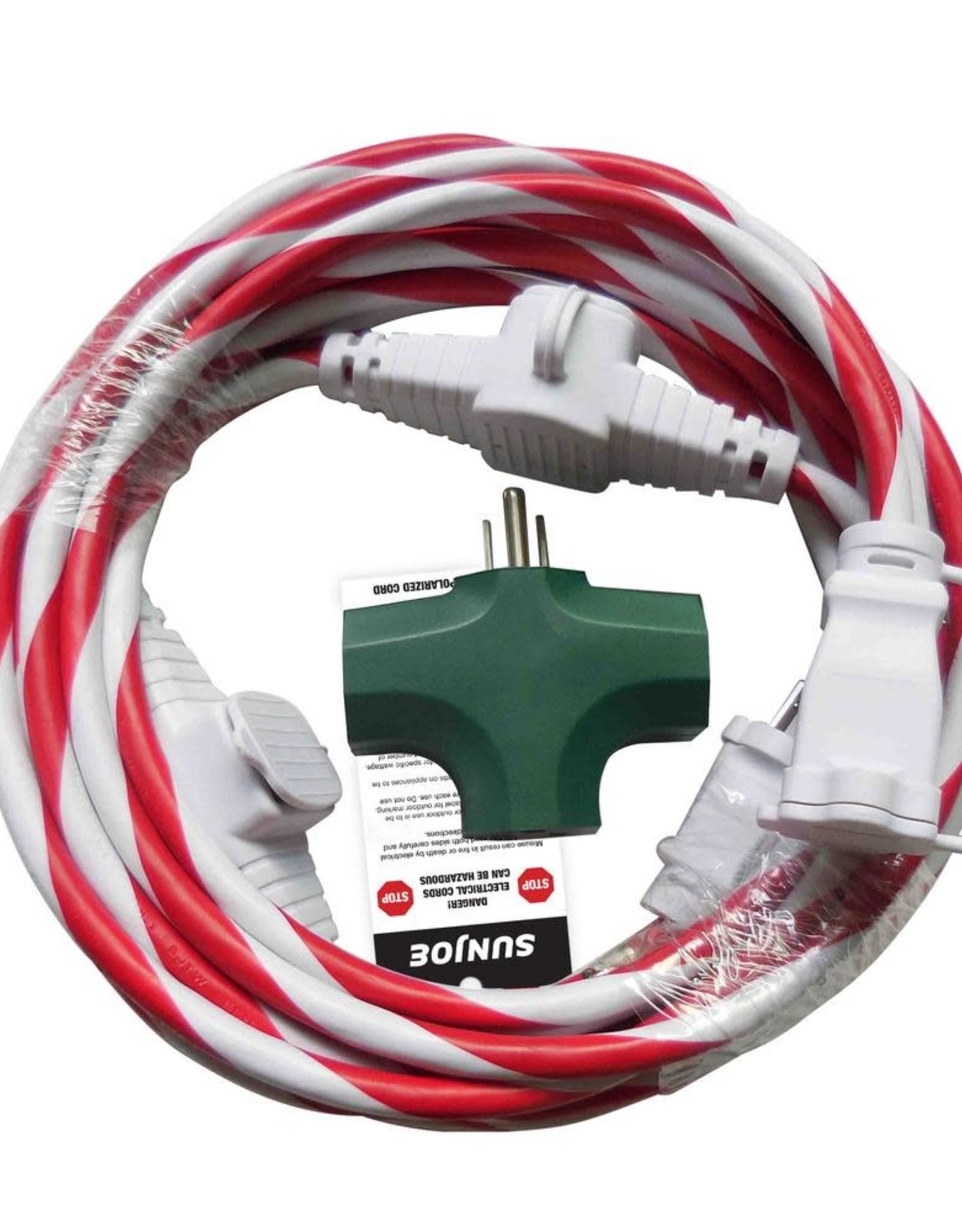 Sun Joe 25 ft. Indoor + Outdoor Extension Cord with Cord Connect Adapter Candy Cane